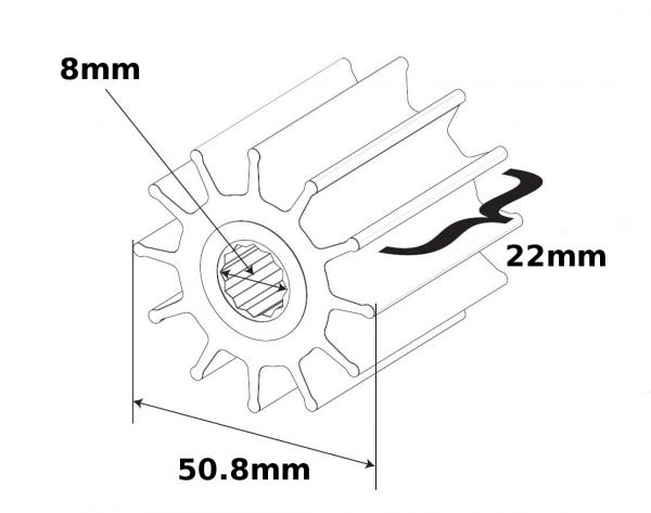 SPX Johnson Pump Impeller F4B Wellen Ø 8mm 824P-1