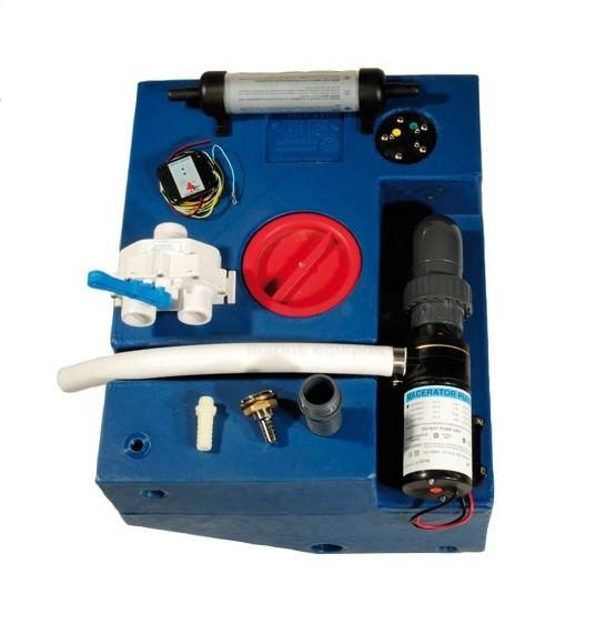 allpa Polyethylen Fäkalientanksatz mit eingebauter Fäkalienpumpe 12V, rechteckig, 112l