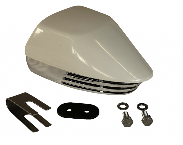 allpa Messingverchromte Elektromagn. Signalhorn mit weiße Kunststoff Kappe, Einklang, L=155mm, 12V