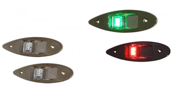 allpa LED Positionlaterne für Back-/Steuerbord (Einbau) 12V/6W, NIRO Gehäuse, rot/grüne Linse