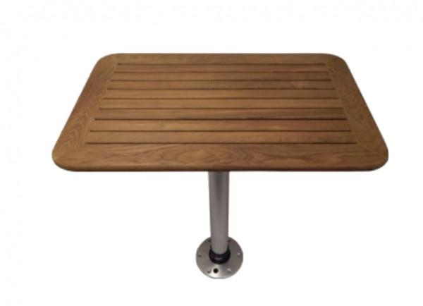 Thread-Lock Tisch & Fuß System mit echter Teakholz Tischplatte