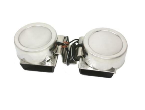 allpa NIRO Elektromagnetische mini Signalhornsatz, Zweiklang, 2xØ82mm, 12V