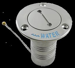 'allpa NIRO Deckeinfüllstütze ''Water'', Schlauchanschluss Ø38mm, Flansch Ø76mm, 0º Modell'