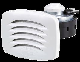 allpa Elektromagn. Einbau Signalhorn mit Weißem Kunststoff Grill & NIRO Montagebügel, Einklang, 12V