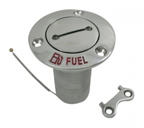 NIRO Deckeinfüllstützen ''Fuel'' Schlauchanschluss Ø38mm Flansch Ø76mm