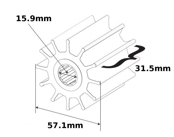 SPX Johnson Pump Impeller F5B Wellen Ø15,9mm mit Keil 801B